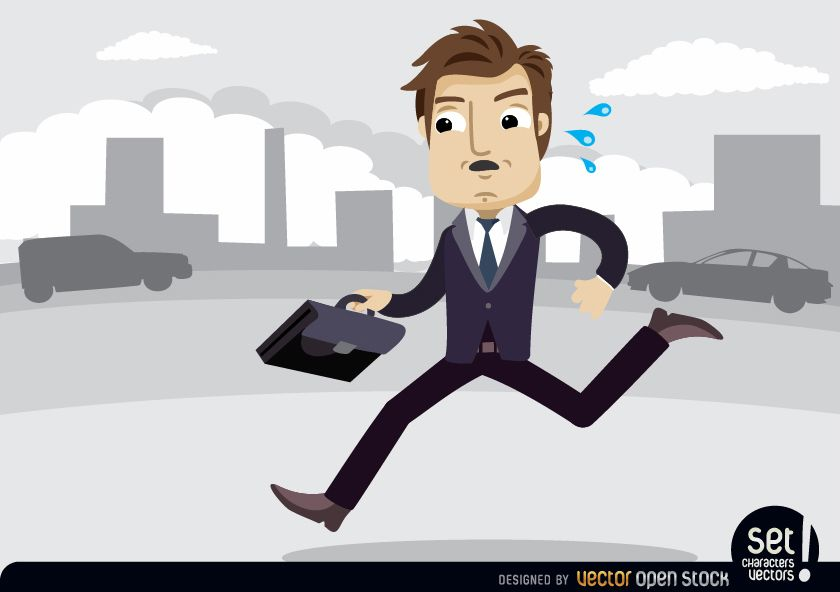 Executive with briefcase in a hurry