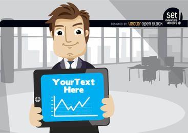 Gráfico mostrando executivo em tablet