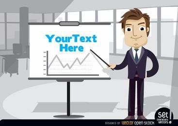 Empresário com gráfico de tela de apresentação
