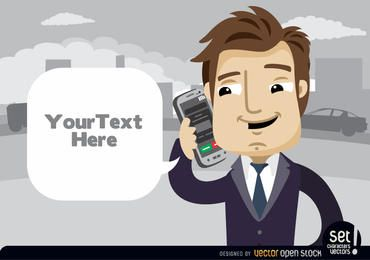 Empresario hablando por teléfono celular Ejecutivo con nube para texto
