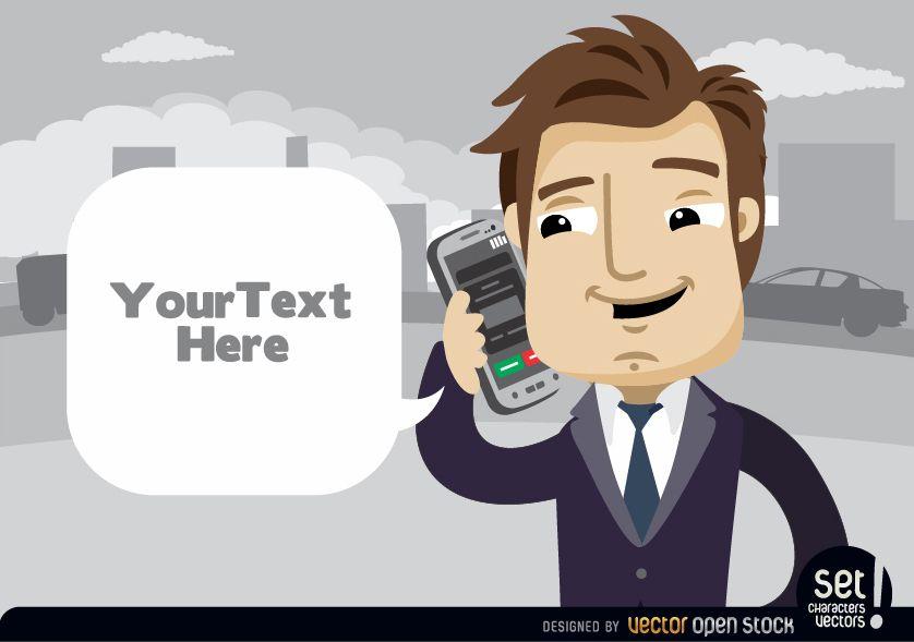 Empresario hablando por telfono celular Ejecutivo con nube para