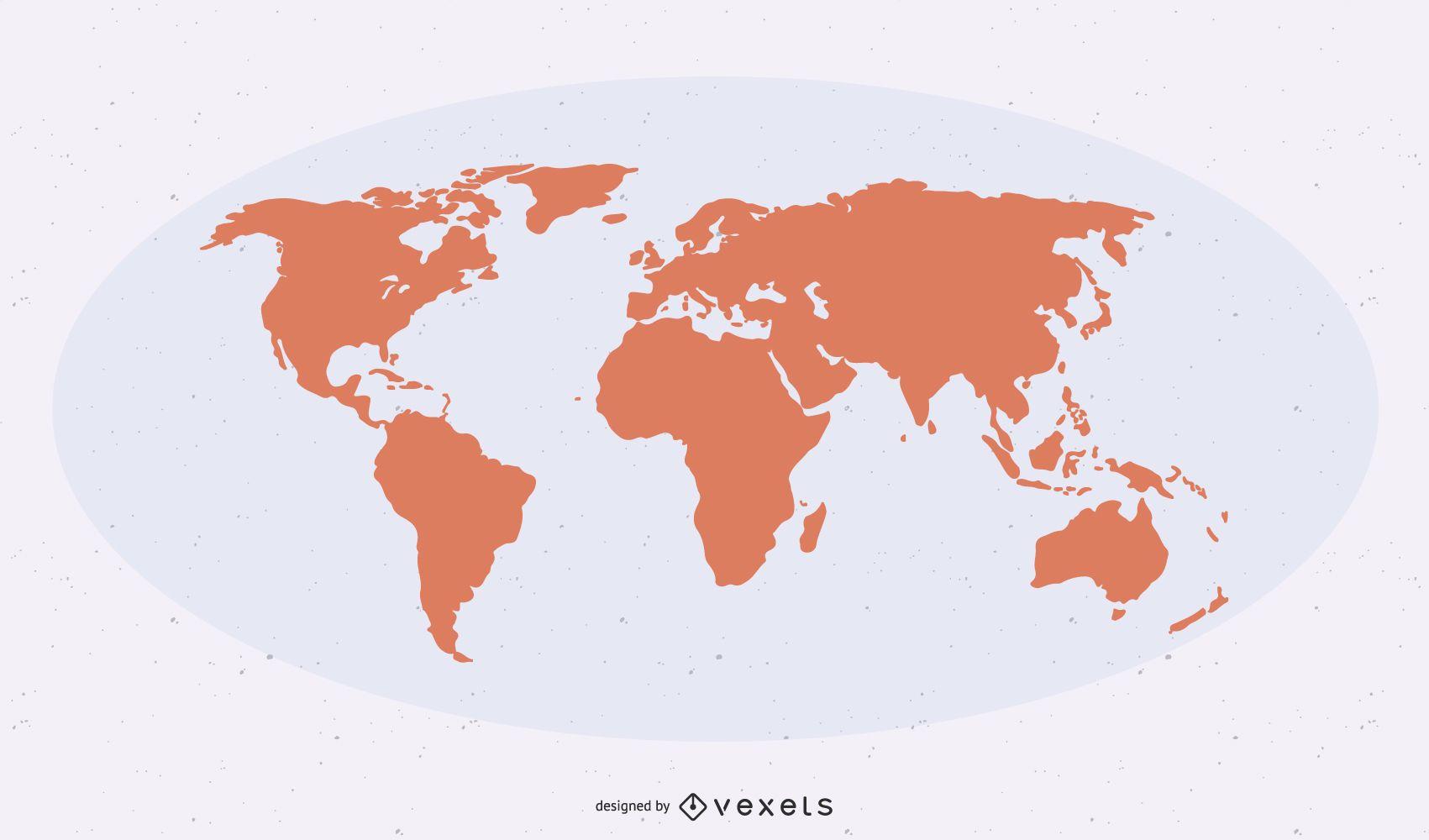 Flat Detailed Shape World Map