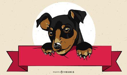 Künstlerischer Hund mit Banner