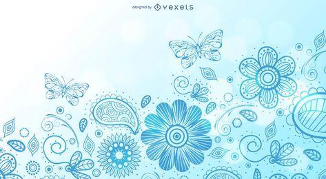 Fundo floral de redemoinho com borboleta