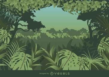Fundo de selva com moldura tropical