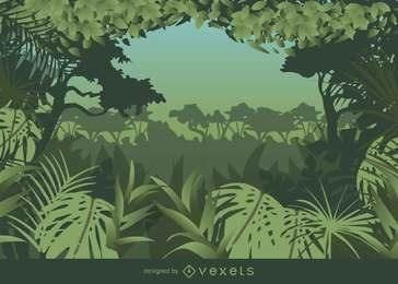 Tropical, quadro, denominado, selva, fundo