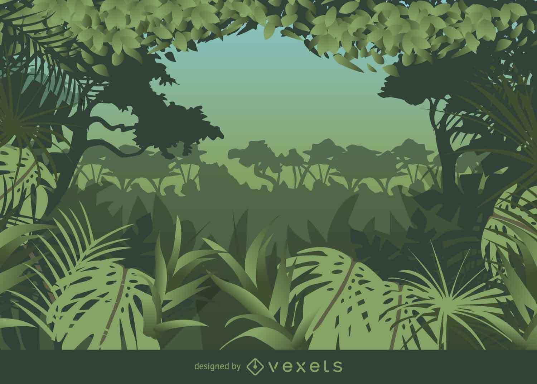 Fondo de selva con estilo de marco tropical