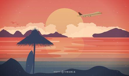 Cena de viagem com avião e pôr do sol na praia
