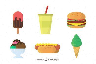 Conjunto de junk food gostoso