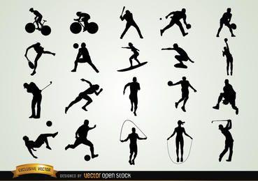 Conjunto de silhuetas esportivas