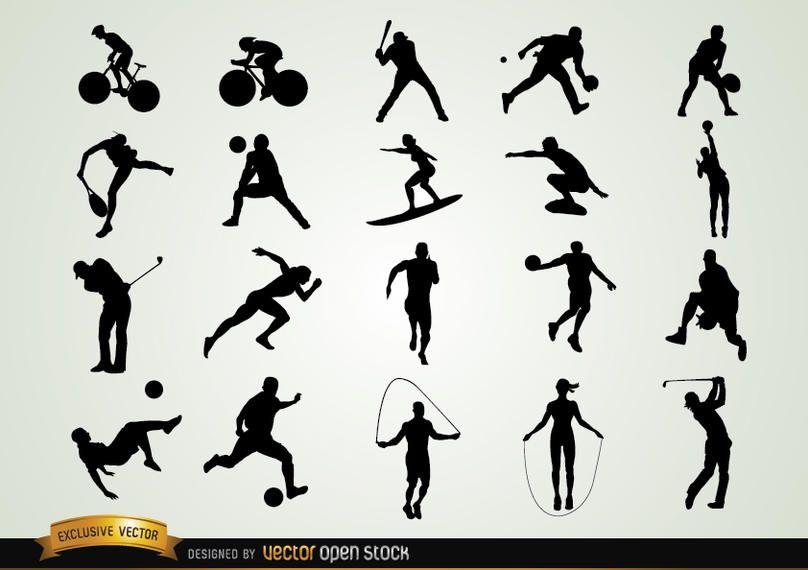 Conjunto de silhuetas de esporte