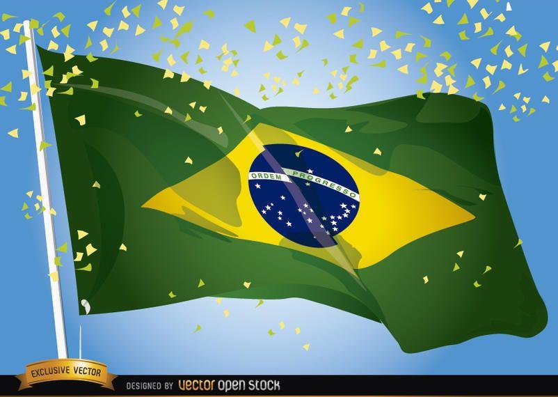 Celebração de ondulação do Brasil 2014 bandeira