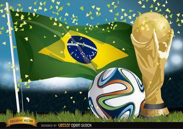 Brasil 2014 futebol, bandeira e troféu