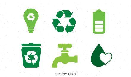 Exclusivo conjunto de iconos de ecología verde