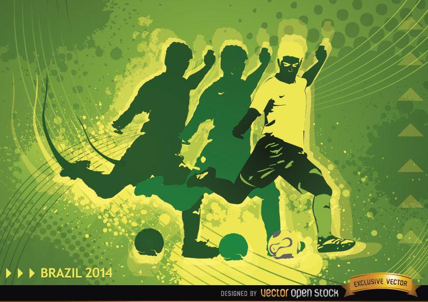 Deportes Pelotas Fondo Grunge: Jugador De Fútbol En Brasil 2014 Antecedentes