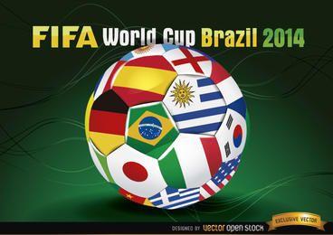 Brasil 2014 Footaball com bandeiras de equipe