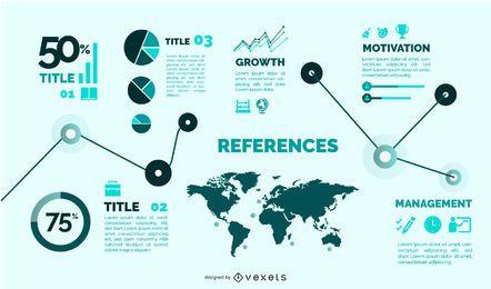 Conjunto de infográfico de modelo de estilo simples