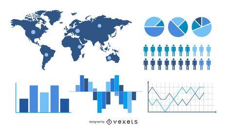 Conjunto de infografía estadística y analítica