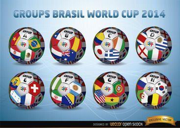 Bolas de futebol com os grupos da Copa do Mundo Brasil 2014