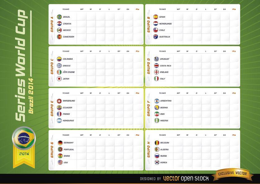 Team groups board Brazil 2014 Worldcup