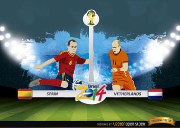 Spanien gegen Niederlande entspricht Brasilien 2014