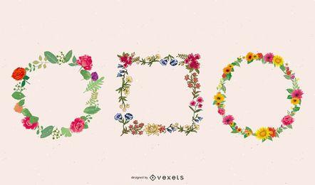 Plantilla de marco elíptico floral