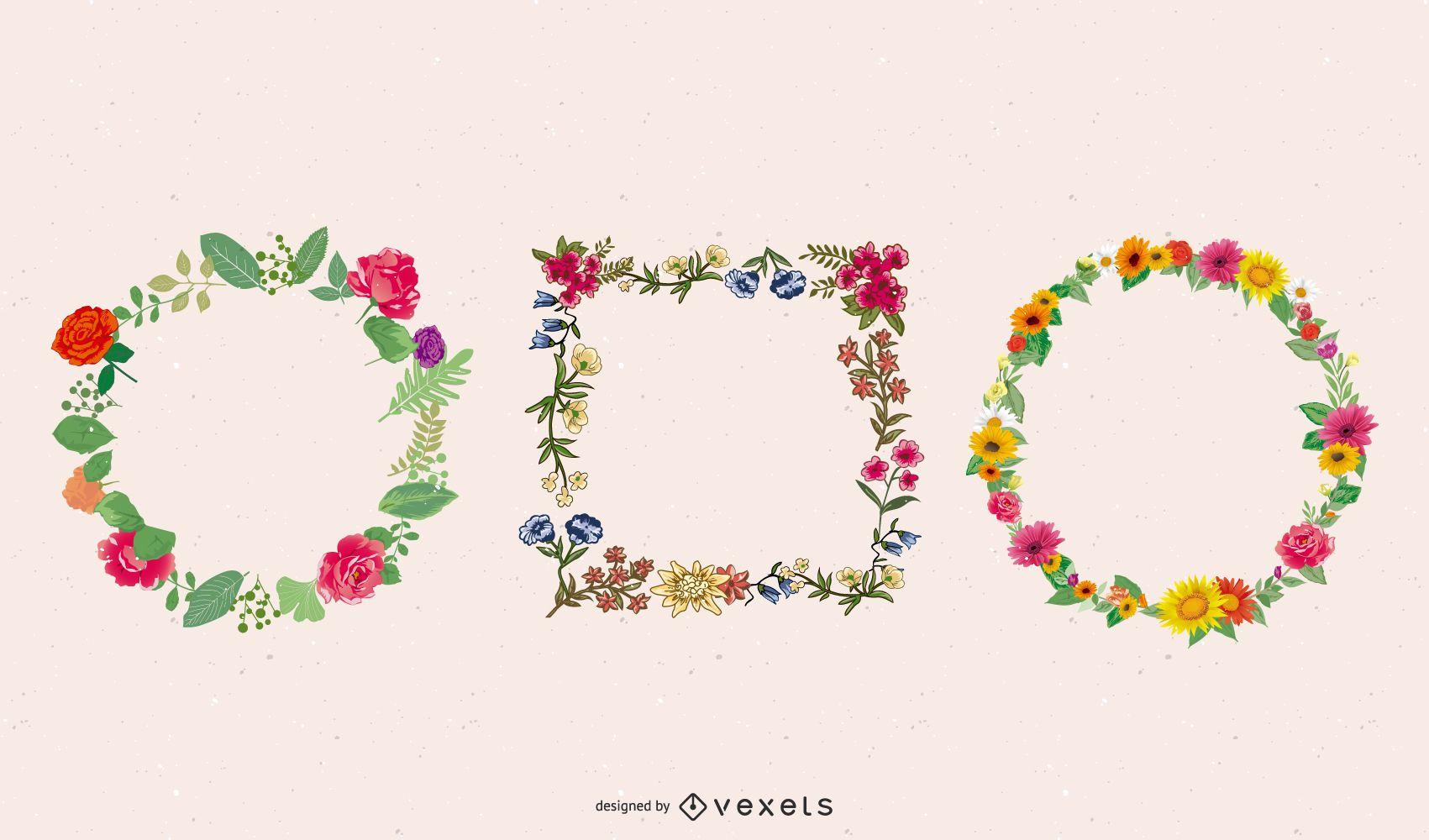 Elliptical Floral Frame Template