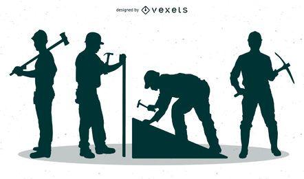 Silhuetas de homens de trabalho com picaretas