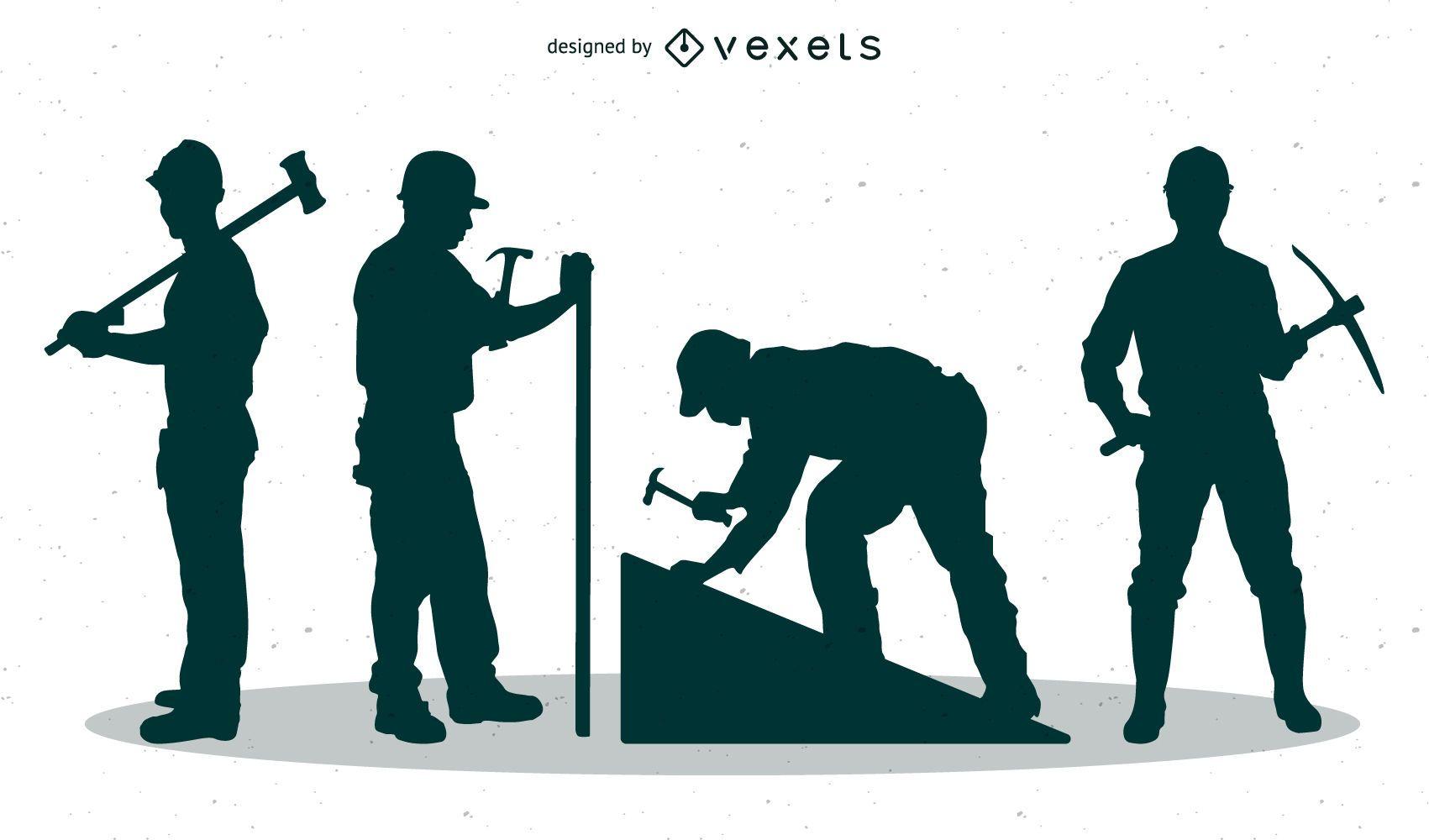 Siluetas de hombres de trabajo con picos