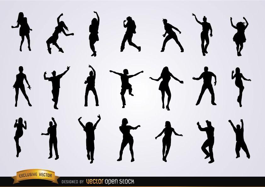 Conjunto de siluetas de baile