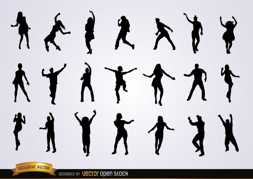 Satz tanzende Silhouetten