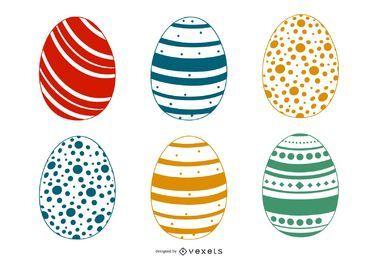 Conjunto de ovos de Páscoa coloridos decorados