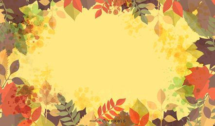 Autumn Leaves Frame with Grungy Splats