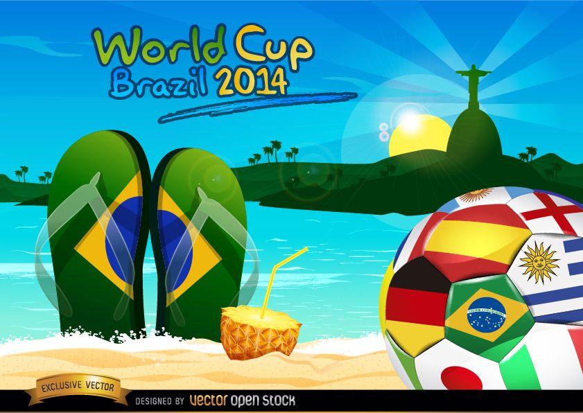 Brazil 2014 ball on Rio beach