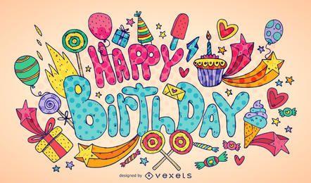 Design de cartaz artístico de festa de aniversário de crianças