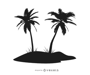 Isla de palmeras silueta