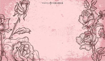 Fundo sujo retrô com rosas