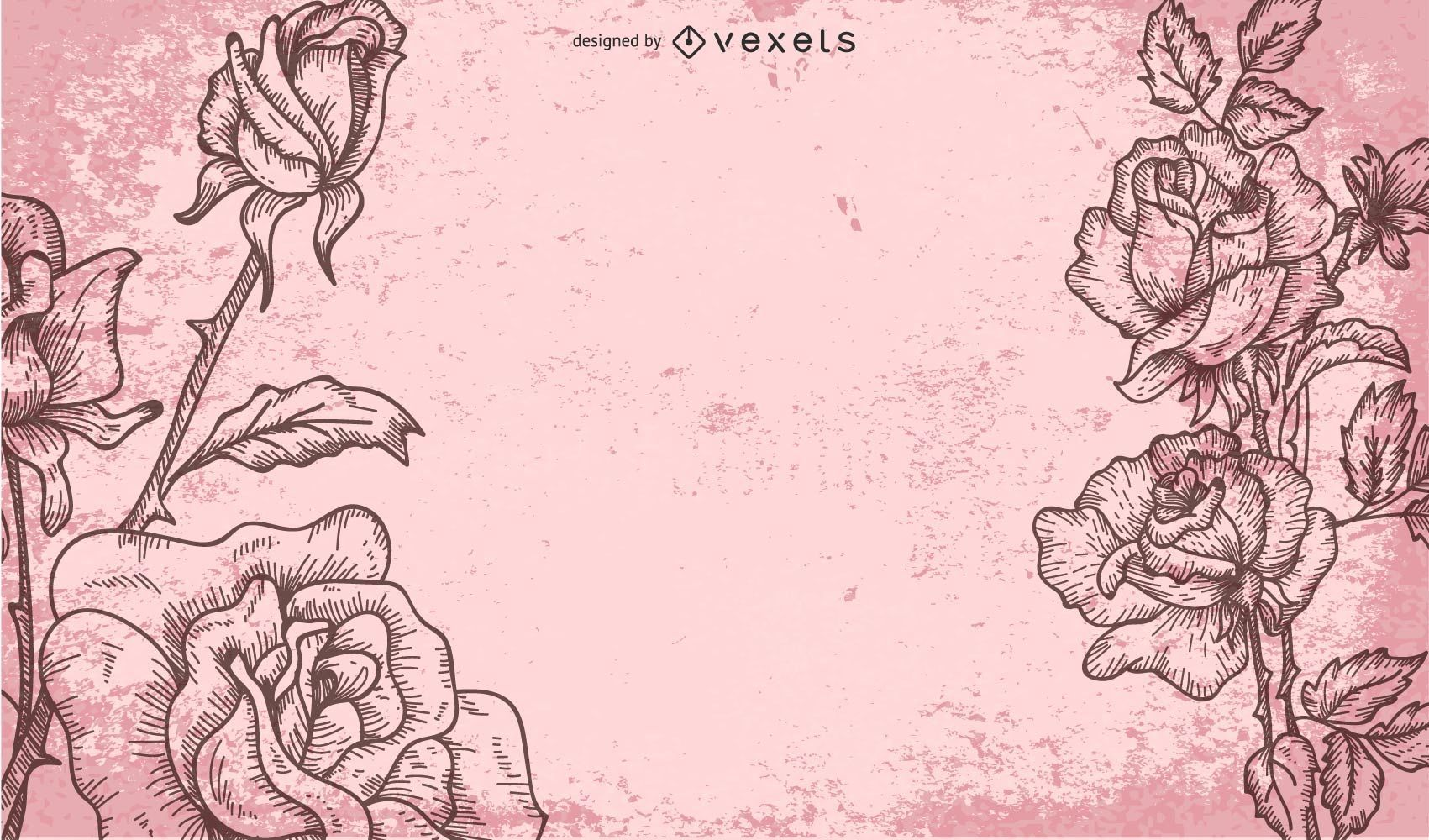 Retro Grungy Background with Roses