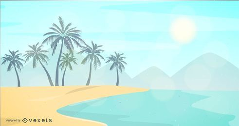 Playa tropical con resplandor de lentes de sol.
