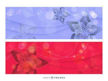 Plantilla de banner brillante con loto rojo y azul