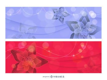 Plantilla de pancarta brillante con loto rojo y azul