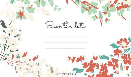 Cartão de convite para florescer girando
