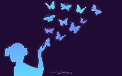 Schmetterlings-Mädchen-Mode-Kunst mit Blumen