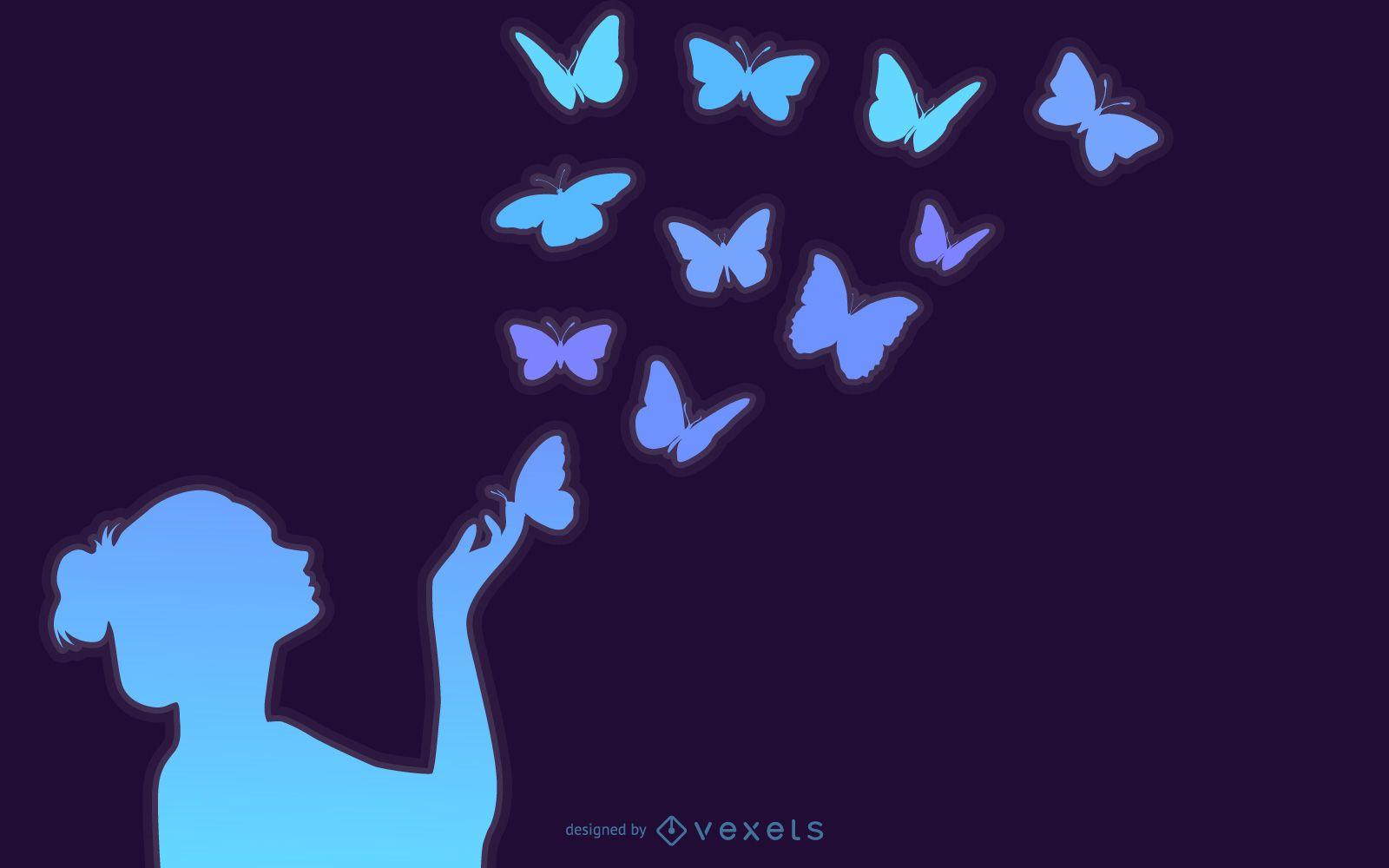 Arte da moda de menina borboleta com flores