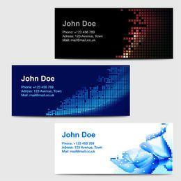 3 tarjetas de visita con ilustraciones abstractas pixeladas
