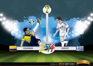 Kolumbien gegen Griechenland entspricht Brasilien 2014