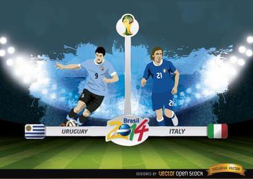 Uruguai vs Itália jogo Brasil 2014