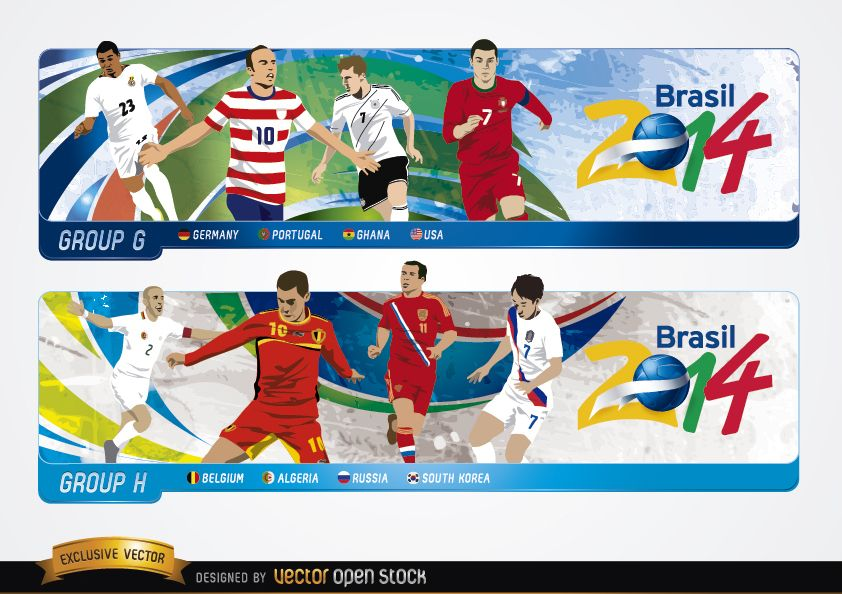 Headers with groups G H Brazil 2014