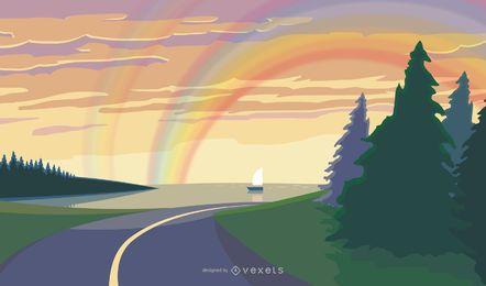 Paisaje de naturaleza fresca con cielo arcoiris