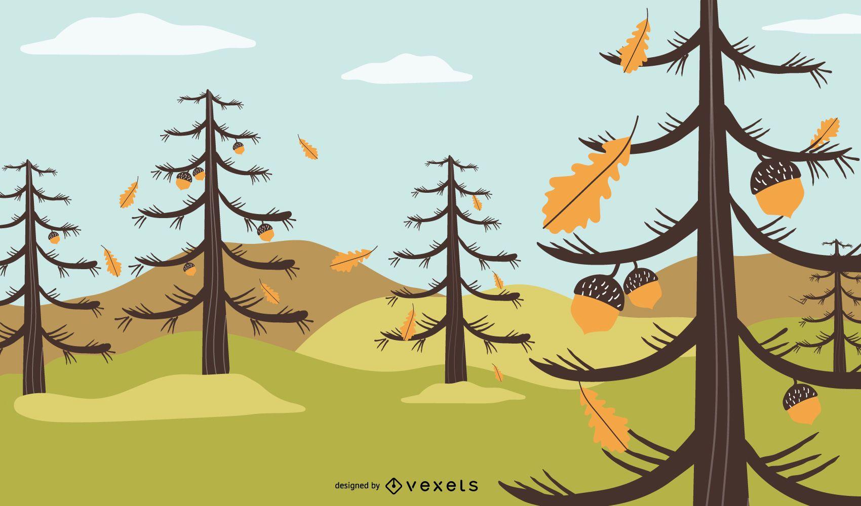 Autumn Chestnut Landscape